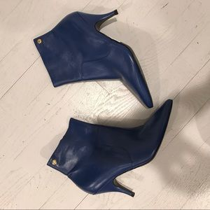 Tory Burch blue leather ankle boots booties heels